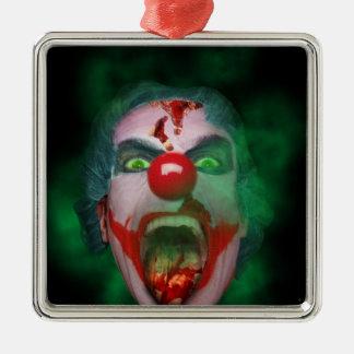 Evil Joker Clown Face Silver-Colored Square Decoration
