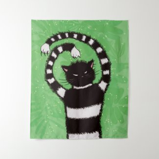 Evil Kitty In Green Spring With Leaves Cat Lover Tapestry