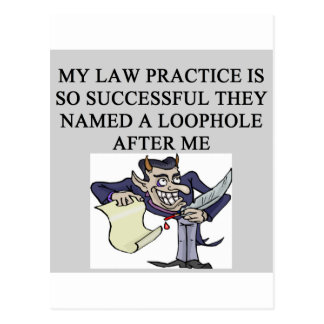 evil lawyer joke postcard
