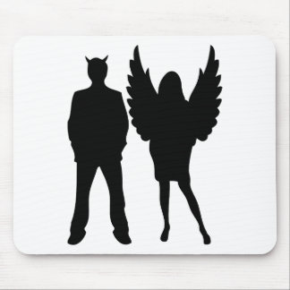 evil man and angel woman mouse pad