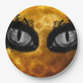 Evil moon eyes paper plate