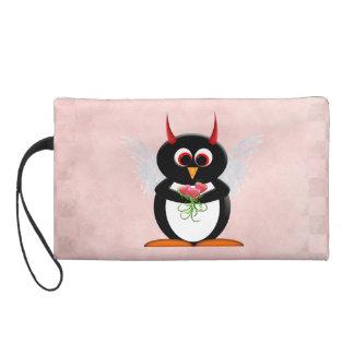 Evil Penguin Cupid Cartoon Wristlet Clutch