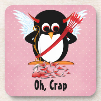 Evil Penguin™ Cupid Oh, Crap Beverage Coaster
