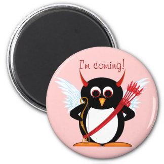 Evil Penguin Cupid Valentine 6 Cm Round Magnet