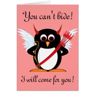 Evil Penguin Cupid Valentine Card