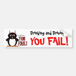 Evil Penguin Drinking & Driving Bumper Sticker