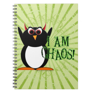 Evil Penguin™ I am Chaos! Funny Notebook
