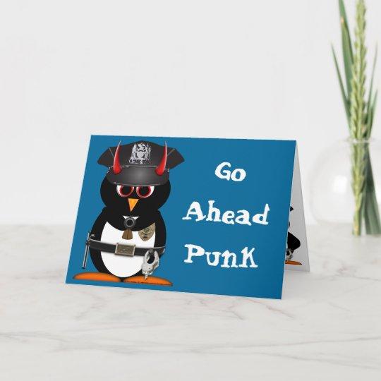 Evil Penguin Police Birthday Card