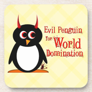 Evil Penguin™ World Domination Beverage Coasters