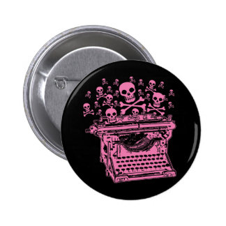 Evil Pink Typewriter 6 Cm Round Badge