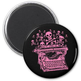 Evil Pink Typewriter 6 Cm Round Magnet