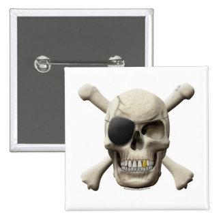 Evil Pirate Skull & Crossbones 15 Cm Square Badge