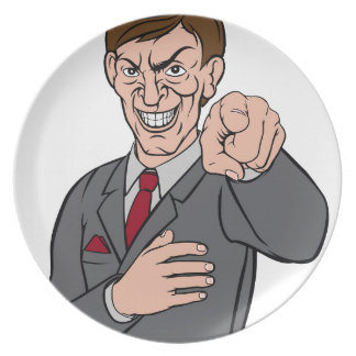 Evil Pointing Business Man Plates