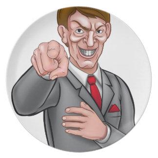 Evil Pointing Businessman Dinner Plate