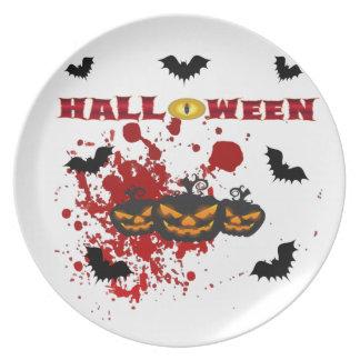 Evil pumpkin Halloween Plate