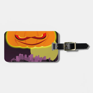 Evil Pumpkin Over The City Luggage Tag