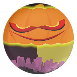 Evil Pumpkin Over The City Party Plate