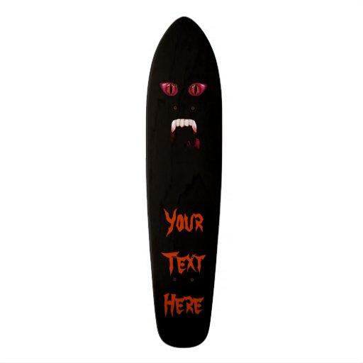Evil Red Demon Eyes & Bloody Vampire Fangs Skate Board