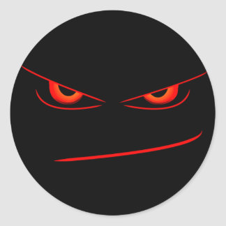 evil red eyes seal round sticker