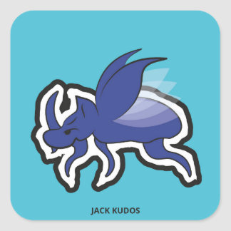 Evil Rhino Beetle Blue | Jack Kudos Square Sticker