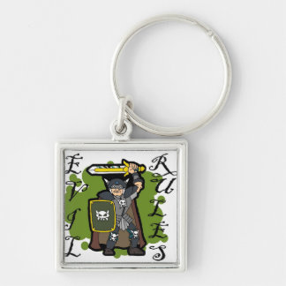 Evil Rules Silver-Colored Square Key Ring