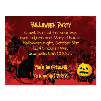 Evil Scary Black Cat Halloween Party Invitation Postcard