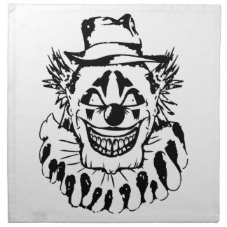 Evil Scary Clown Halloween Napkin