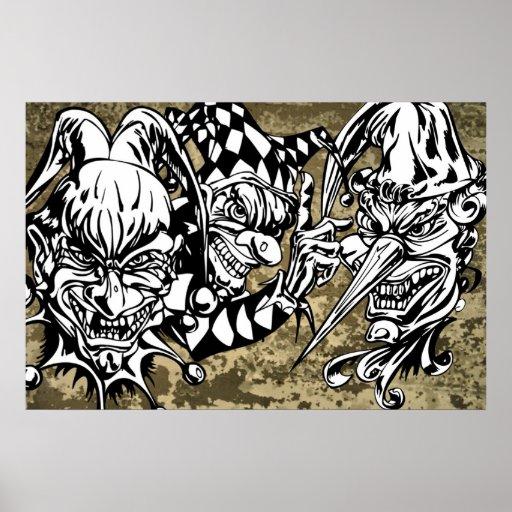 Evil, Scary Clowns Print