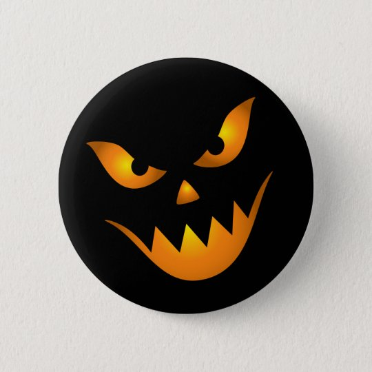 Evil scary demon face pinback button / badge