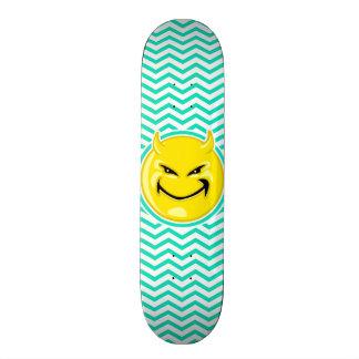 Evil Smile Aqua Green Chevron Custom Skate Board