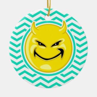 Evil Smile; Aqua Green Chevron Double-Sided Ceramic Round Christmas Ornament