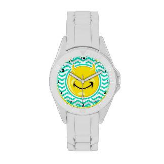 Evil Smile; Aqua Green Chevron Watches