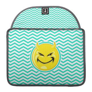Evil Smile; Aqua Green Chevron Sleeve For MacBook Pro
