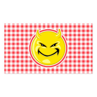 Evil Smile; Red and White Gingham Business Card