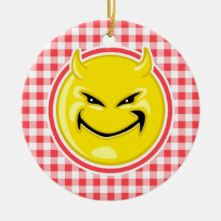 Evil Smile; Red and White Gingham Double-Sided Ceramic Round Christmas Ornament