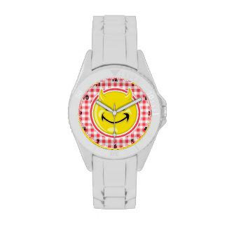 Evil Smile; Red and White Gingham Wristwatch