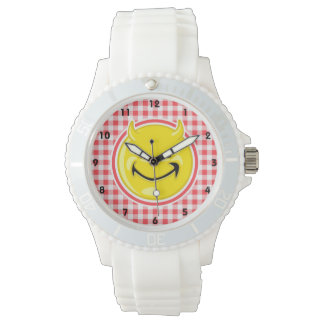 Evil Smile; Red and White Gingham Watches