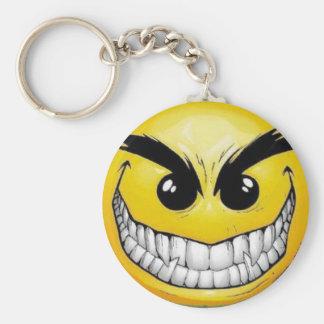 Evil smiley face key ring