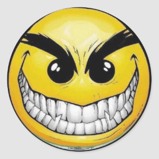 Evil Smiley Face Round Stickers