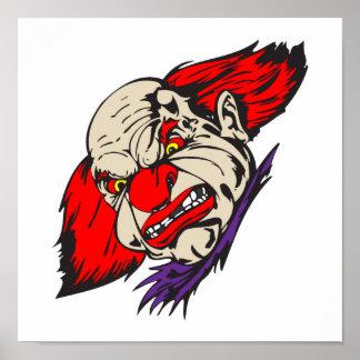 evil snarling clown poster