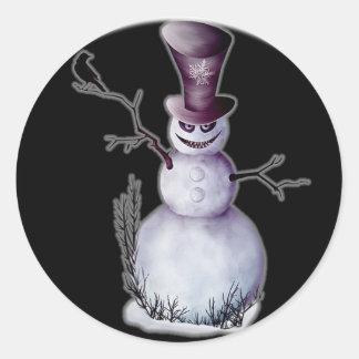 evil snowman classic round sticker