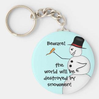 Evil snowmen destroy the world key ring