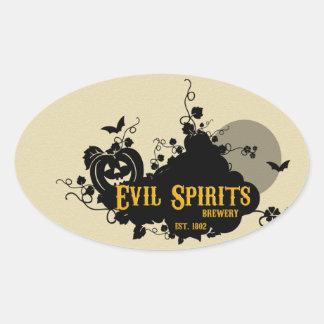 Evil Spirits Drink Labels Oval Sticker