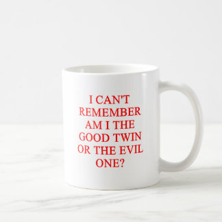 evil twin joke basic white mug