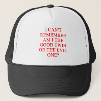 evil twin joke trucker hat