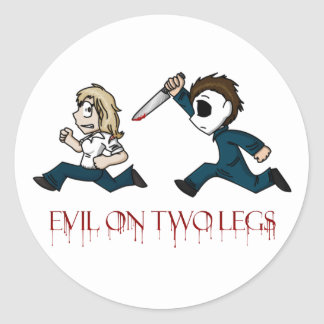 Evilontwolegs caricatures round sticker