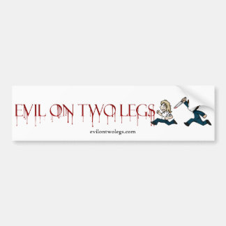 evilontwolegs.com logo bumper sticker