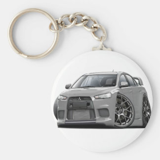 Evo Silver Car Basic Round Button Key Ring