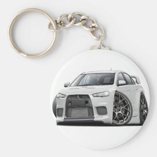 Evo White Car Key Ring