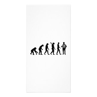 Evolution Accordion player Photo Greeting Card